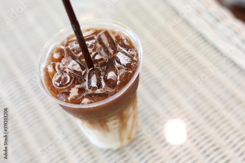 Fototapeta cold iced coffee drink in cafe obraz