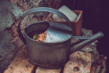 High Angle View Of Old Watering Can