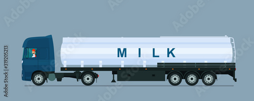 Fototapeta Milk carrier with driver isolated