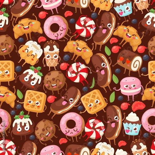 obraz dibond Bakery seamless pattern with funny cartoon characters vector illustration. Wrapping paper for desserts, sweet food mascot. Ice cream, croissant, donut, cake and cookie. Bakeshop pastry products cafe