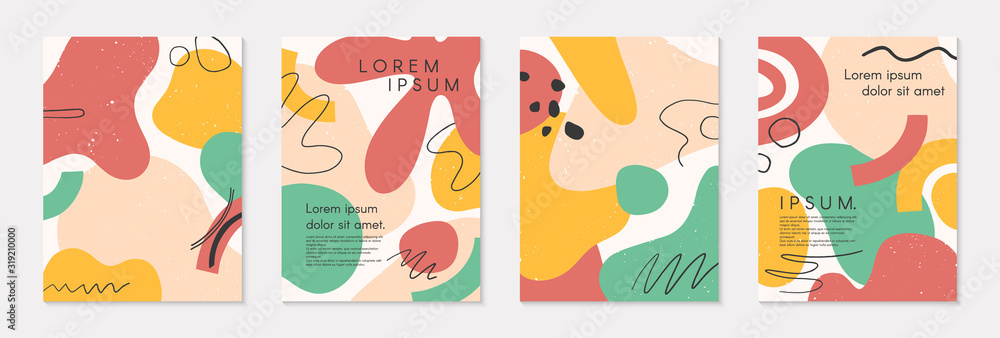 Fototapeta Set of modern colorful vector collages with hand drawn organic shapes and textures.Trendy contemporary design perfect for prints,flyers,banners,brochure,invitations,branding design,covers and more