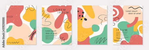Fototapeta Set of modern colorful vector collages with hand drawn organic shapes and textures.Trendy contemporary design perfect for prints,flyers,banners,brochure,invitations,branding design,covers and more obraz