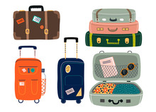 Set Of Isolated Suitcases With...