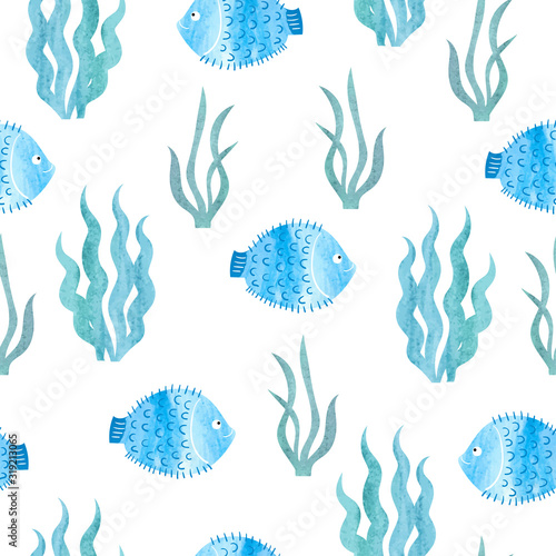 Seamless blue sea pattern with watercolor fish and seaweeds.