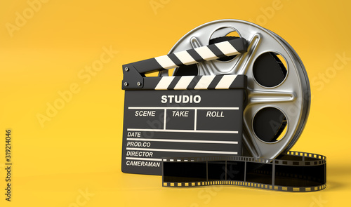 Papel de parede Film reel with clapperboard isolated on bright yellow background in pastel colors