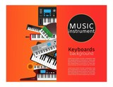 Keyboard musical instruments shop with classical piano, electronic synthetiser, studio acoustic musician equipment vector illustration. Musical keyboard instruments store poster.