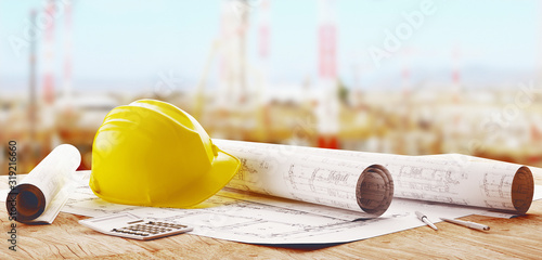 obraz lub plakat A set of different tools for the design of engineer, 3d rendering