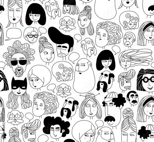 Valokuvatapetti Hand drawn doodle set of people faces