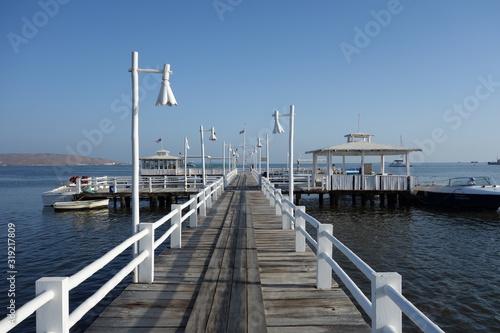 Fototapety, obrazy: PIER OVER SEA AGAINST CLEAR SKY