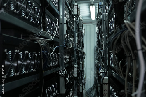 mining farm, video cards and asiki mining farm. Canvas Print