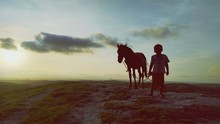 Silhouette Boy Standing With Horse On Landscape Against Sky