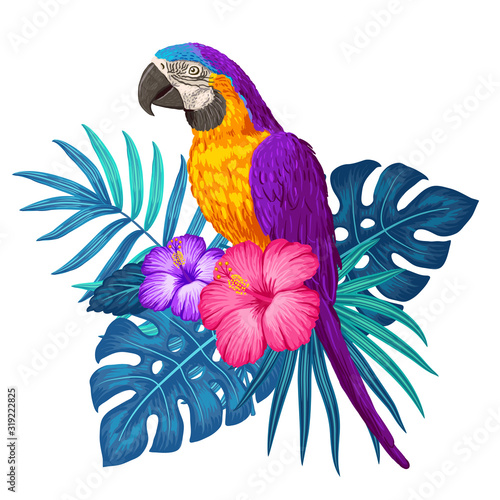 Parrot macaw with tropical plants Fotomurales