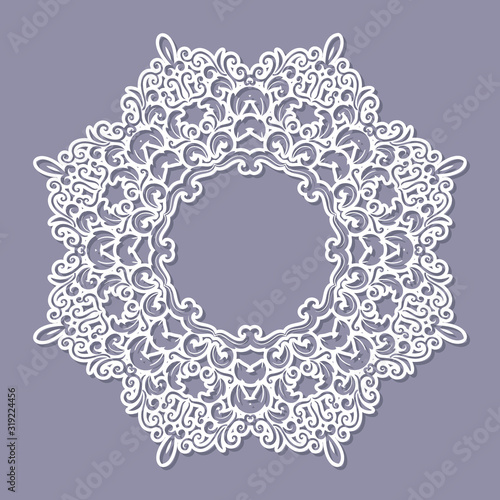 Valokuva Lacy doily frame. Filligree paper cut out template. Vector