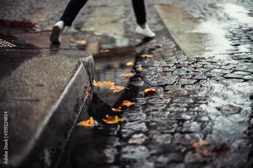 Low Section Of Woman Walking On Wet Street Fototapeta