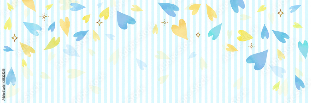 Fototapeta ブルーのハートとストライプの背景素材(横長 バナー ヘッダー)