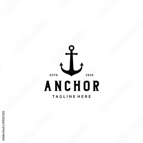 Cuadros en Lienzo Simple silhouette anchor boat ship nautical logo design vector