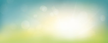 A Fresh Spring Blue Sunny Sky Background With Blurred Warm Sunny Glow.