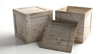 Crates, Closed And Open Wooden Boxes Isolated Against White Background. 3d Illustration