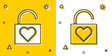 Black Lock And Heart Icon Isol...