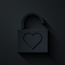 Paper Cut Lock And Heart Icon ...