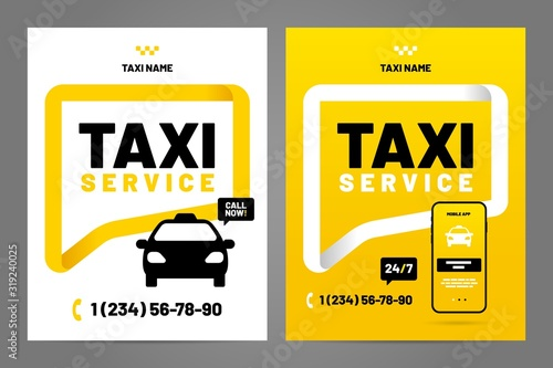 Vector layout design template for taxi service. Fototapeta