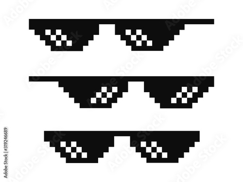 Fotomural Vector pixel glasses known as thug life symbol