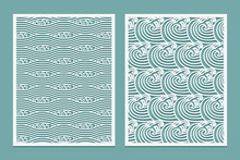 Set Of Laser Cut Template Pattern. Rivers Waves Asian Style Scenery. Metal Cutting Or Wood Carving, Panel Design, Stencil For Fretwork, Paper Art, Card Background Or Interior Decor.