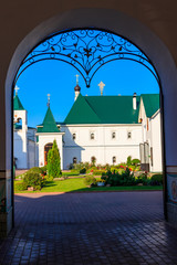 Transfiguration monastery in Murom, Russia. View through arched passway