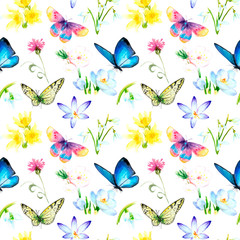 Fototapeta Inspiracje na wiosnę watercolor seamless pattern - spring flowers, first, butterfly,