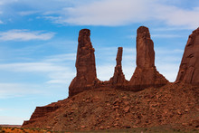 Tall Rock Spires In Monument V...