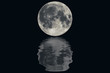 The full moon with water wave ripple reflection effect.Elements of this image furnished by NASA.