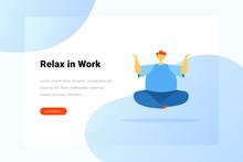 Man Sitting In Yoga Lotus Pose...