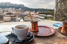 Greek Coffee Served On The Table In Traditional Cafe In Athens, Greece
