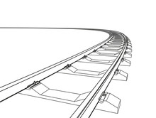 The Railway Going Forward. 3d Vector Illustration On A White