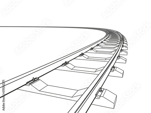 The railway going forward. 3d vector illustration on a white Canvas Print