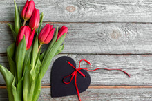 Red Tulips With Heart On Woode...