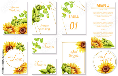 Watercolor spring wedding event invitation cards with green artichoke and sunflower #319265873