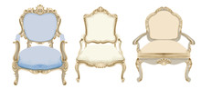 Baroque Style Chairs With Eleg...