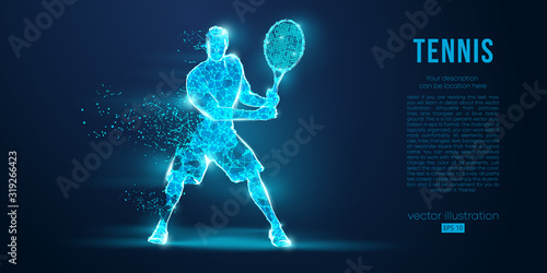Fotomural Abstract silhouette of a tennis player man, male, women, girl female from particles, lines, triangles