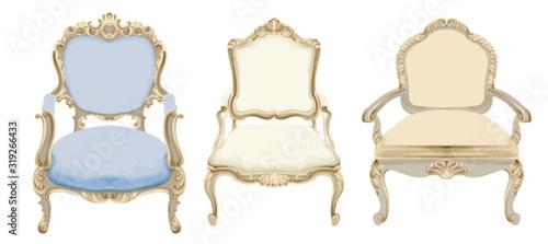 Obraz Baroque style chairs with elegant decor - fototapety do salonu