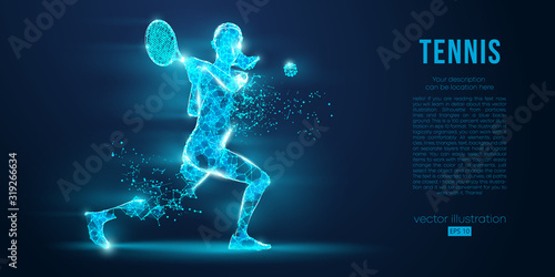 Abstract silhouette of a tennis player man, male, women, girl female from particles, lines, triangles Wallpaper Mural