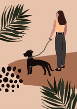 Abstract Modern Woman In Fashion Trendy Clothes Walking On Street With Dog. Trendy Art Minimal Background Poster Wall Art Print. Vector Illustration In Hand Drawn Flat Style