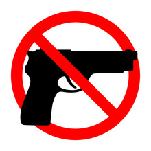 No Weapons Sign. Black Gun In A Red Crossed Circle On A White Background.