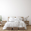 canvas print picture - Scandinavian farmhouse bedroom interior, wall mockup, 3d render
