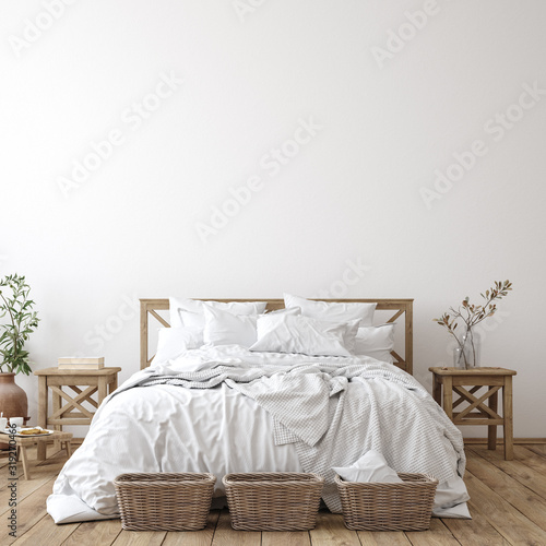 Fényképezés Scandinavian farmhouse bedroom interior, wall mockup, 3d render