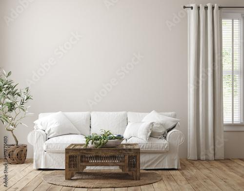 Fototapeta Scandinavian farmhouse living room interior, wall mockup, 3d render obraz
