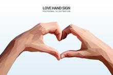 Love Hand Sign In Polygonal Illustration