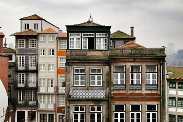 Old colorful tiled facades in Porto city