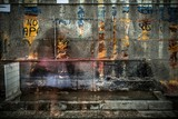 Fototapeta Młodzieżowe - Old rusted wall with covered up graffiti