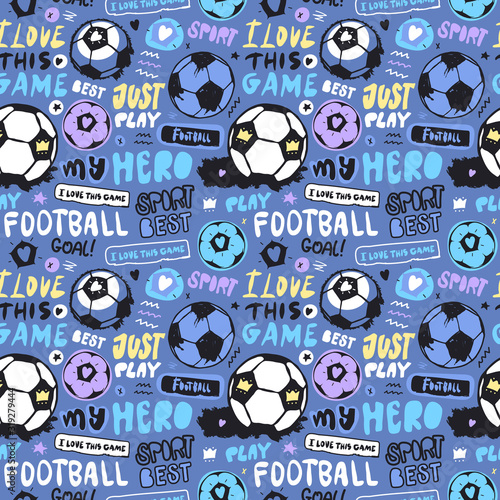 Bright Multi Colored Seamless Pattern With Soccer Ball And Lettering For Children Sports Background For Textiles Football Wallpapers For A Boy Grunge Ball Doodle Star Heart Crown Buy This Stock Vector And